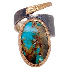 Turquoise Wrap Ring, Sterling Silver 6 Ct Turquoise Organic Genuine Natural