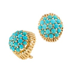 Turquoise Yellow Gold Earrings