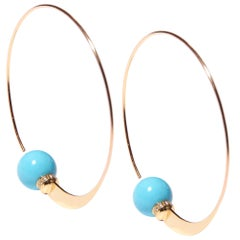 Turquoise Yellow Gold Hoop Earrings with Diamond Detail