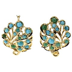 Turquoise Yellow Gold Leaf Earrings