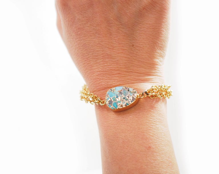 Turquoise zecchino Gold and Gold Plated Bracelet. Adjustable to any size. All Giulia Colussi jewelry is new and has never been previously owned or worn. Each item will arrive at your door beautifully gift wrapped in our boxes, put inside an elegant