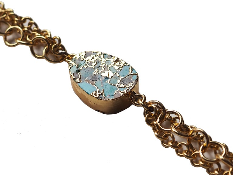 Artisan Turquoise Zecchino Gold and Gold Plated Bracelet For Sale