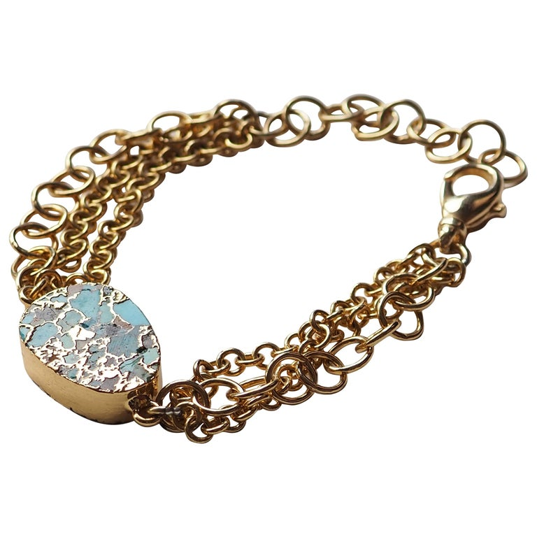 Turquoise Zecchino Gold and Gold Plated Bracelet For Sale