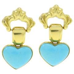 Turquoise 18 Karat Gold Heart Earrings