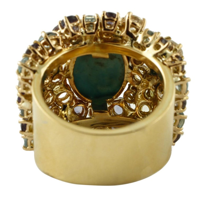 Turquoise, Diamonds, White Sapphires, Topazes, Iolite, 14 Karat Yellow Gold Ring In Good Condition For Sale In Marcianise, Caserta
