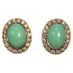 Turquoises and Diamonds Earrings Mounted on White Gold