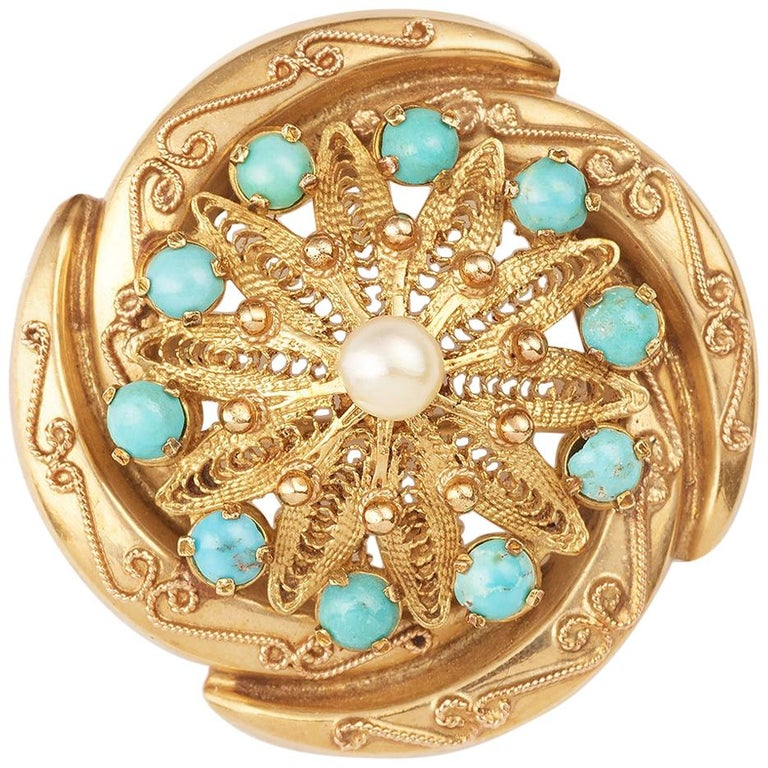 Turquoises Pearl 14 Carat Yellow Gold Twist Brooch / Pendant