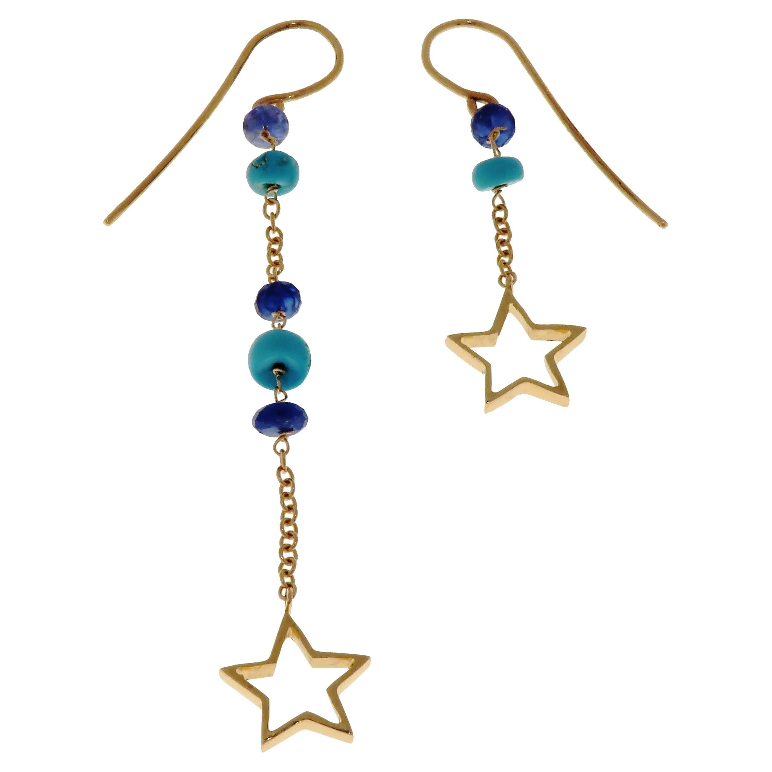 Turquoises Sapphires 9 Karat Rose Gold Dangle Earrings Handcrafted in Italy
