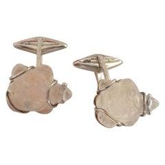 Turtle Cufflinks Rock Crystal Silver Cufflinks