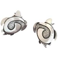 Turtle earrings, Melanie Yazzie cast silver post earrings Turtles contemporary