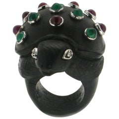 Turtle Ebony 18 Karat White Gold Diamonds Ruby and Emerald Cocktail Ring
