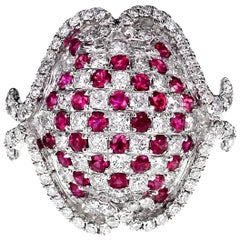 'Turtle' Inspired Vivid Red Ruby and White Diamond Ring