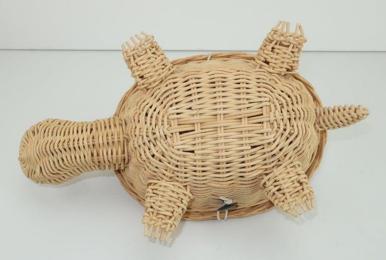 Turtle Wicker Basket Novelty Handbag, 1960's For Sale 5
