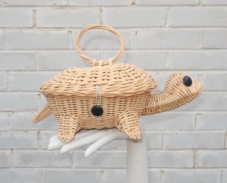 Turtle Wicker Basket Novelty Handbag, 1960's For Sale 7