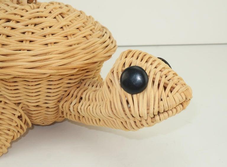 Turtle Wicker Basket Novelty Handbag, 1960's For Sale 1