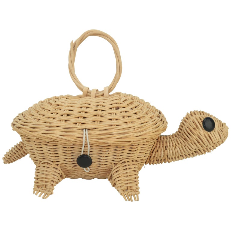 Turtle Wicker Basket Novelty Handbag, 1960's For Sale