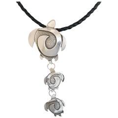 Turtles, cast sterling silver drop pendant Melanie Yazzie new Navajo sea turtles