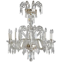 Tuscan 18th Century Style Cut Crystal and Blown Glass Chandelier
