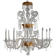 Tuscan 18th Century Style Giltwood, Cut Crystal and Blown Glass Chandelier