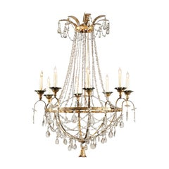Tuscan 19th Century Eight-Light Crystal Chandelier with Gilt Iron Armature