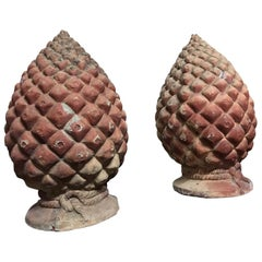 Tuscan Authentic Pair of Terracotta Pine Garden Cones, circa 1700, Italy