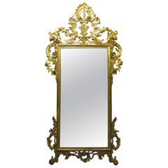 Tuscan Late 19th Century Louis XVI Mirror with a Carved and Gilt Wooden Frame