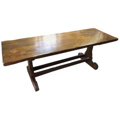 Tuscan Refectory Table in Solid Chestnut Restored Wax Polished, 1940s