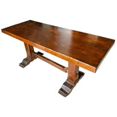 Tuscan Refectory Table in Solid Chestnut Restored Wax Polished, 1960s