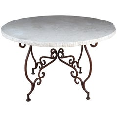Tuscan Style Scrolled Iron Center Table with Stone Top French Entryway Pedestal