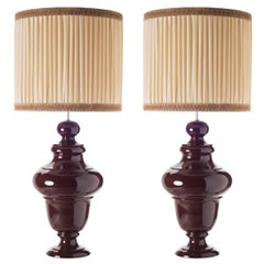 Tuscany Table Lamps, Ceramic Sinuous Shaped Pair