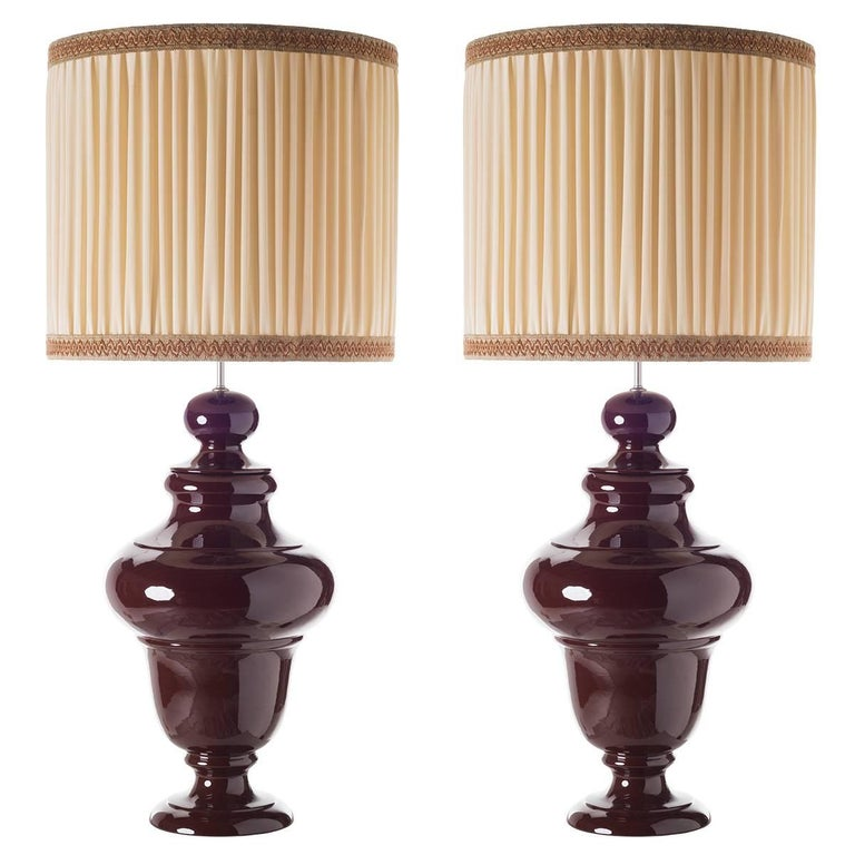 Tuscany A, Pair of Sinuous Shaped Ceramic Table Lamps