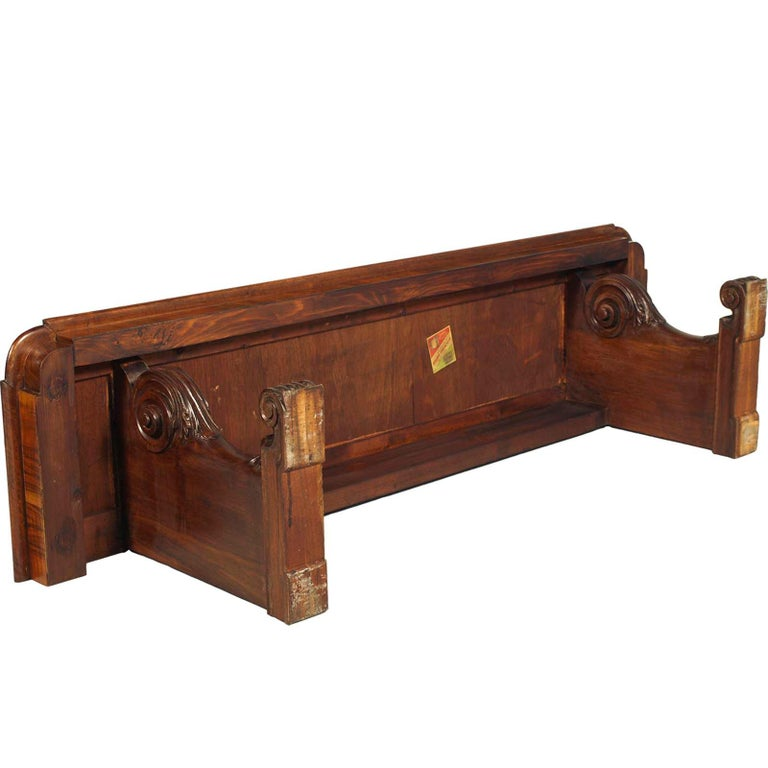 Hand-Carved Tuscany Antique Carved Walnut Inlaid Entry Palladian Bench Bonciani Cascina For Sale