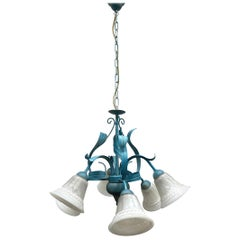 Tuscany Style Chandelier Pendant Light Glass & Blue Colored Metal, 1980s, Italy