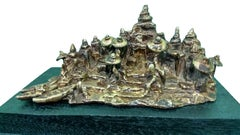 "Benaras Ghat, Bronze Sculpture, Green, Brown, Patina by Indian Artist ""In Stock"""