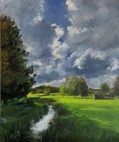 Tushar Sabale, River Coln in Cotswold Hills, Original Cotswold Landscape Art