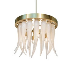 Tusk Opaline Handblown Modern Glass Satin Brass Chandelier Light, Made in USA