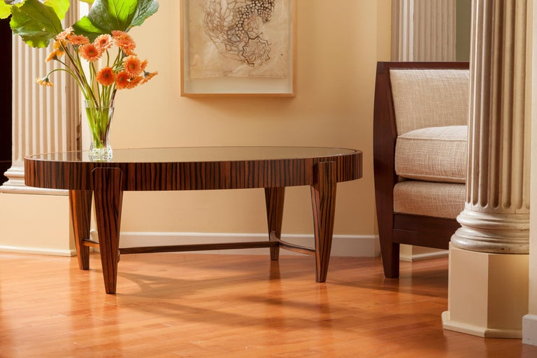Biedermeier Tusk Oval Coffee Table, Contemporary Handmade Macassar Ebony and Glass For Sale