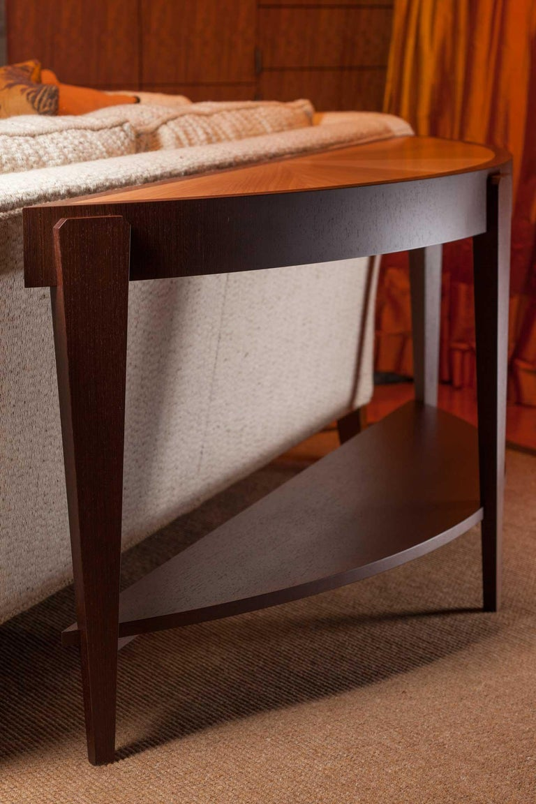 Veneer Tusk Oval Coffee Table, Contemporary Handmade Macassar Ebony and Glass For Sale