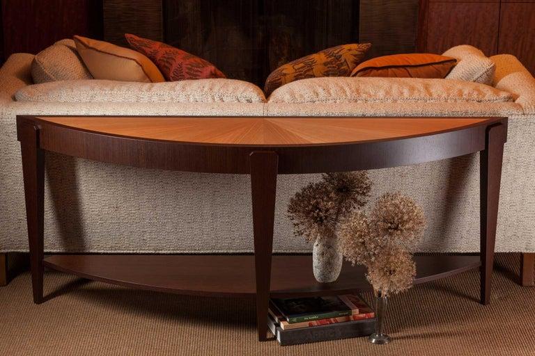 Tusk Oval Coffee Table, Contemporary Handmade Macassar Ebony and Glass For Sale 1