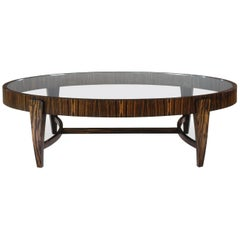 Tusk Oval Coffee Table, Contemporary Handmade Macassar Ebony and Glass