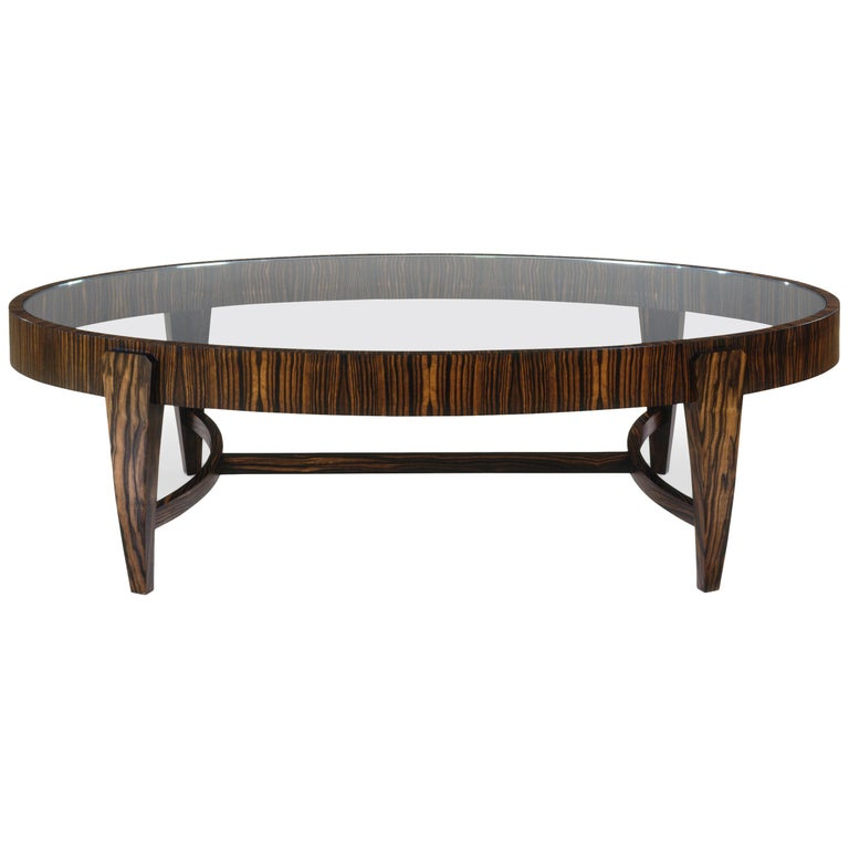 Tusk Oval Coffee Table in Stock Contemporary Handmade Macassar Ebony & Glass For Sale