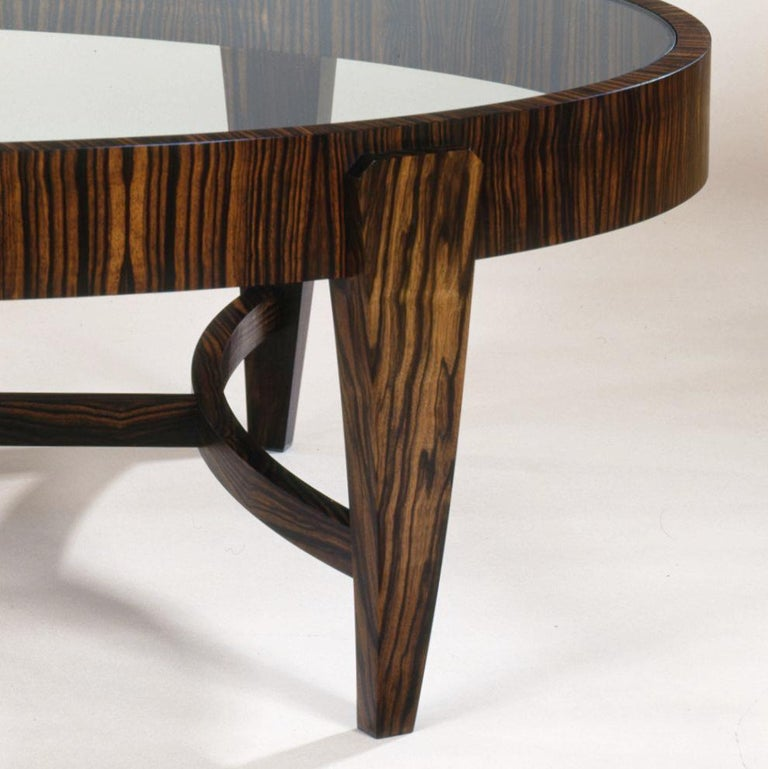 Biedermeier Tusk Round Coffee Table, Contemporary Handmade Macassar Ebony and Glass For Sale