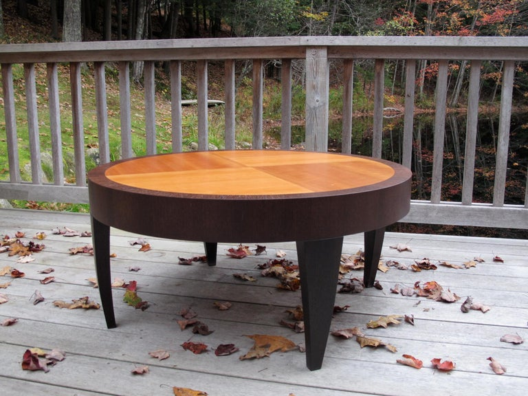American Tusk Round Coffee Table, Contemporary Handmade Macassar Ebony and Glass For Sale
