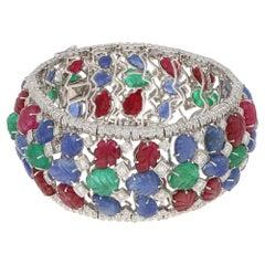 Tutti Frutti Art Deco Style Bracelet Diamond Ruby Emerald Sapphire 119.52 Carat