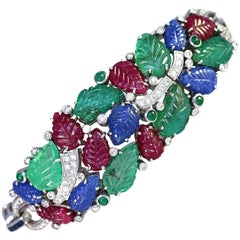 Tutti-Frutti Bracelet Rubies Sapphires Emeralds Diamonds 18 Karat Gold, 1996