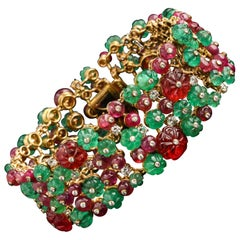 Tutti Frutti Carved Emerald, Ruby and Spinel Bracelet by Bulgari
