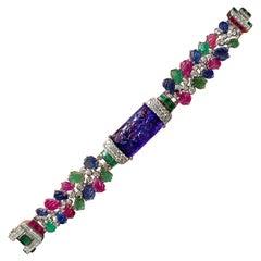 Tutti-Frutti Carved Multicolored Gemstones Bracelet