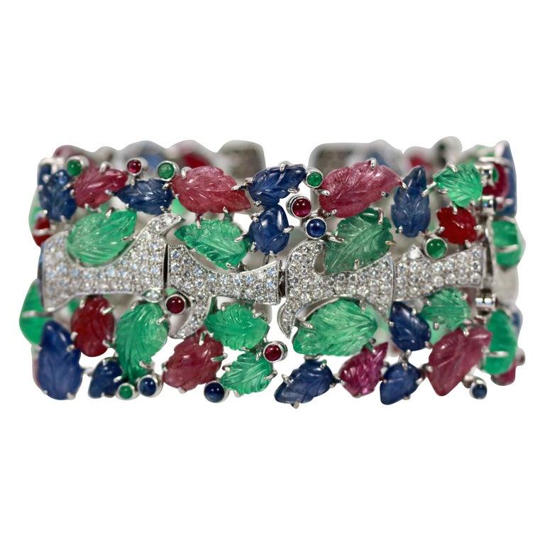 Tutti Frutti Carved Stones Diamond Bracelet 18 Karat Wide For Sale