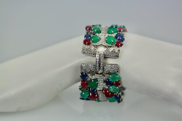 Tutti Frutti Carved Stones Diamond Bracelet 18 Karat Wide For Sale 4
