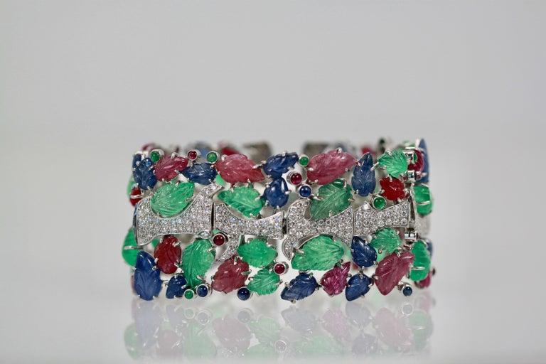 Tutti Frutti Carved Stones Diamond Bracelet 18 Karat Wide For Sale 6
